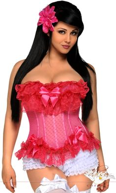 8110d93436 Daisy Corsets Pink Heart Mesh Underwire Corset - Women   Plus