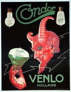 https://flic.kr/p/pQm7bh | Condor Lights Advertising Poster, Venlo Holland, 1920s