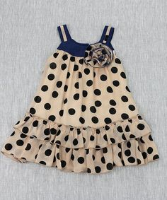 Beige & Black Polka Dot Drop-Waist Dress - Toddler & Girls #zulily #zulilyfinds