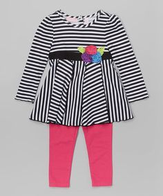 Look what I found on #zulily! Black Stripe Tunic & Pink Leggings - Infant, Toddler & Girls #zulilyfinds