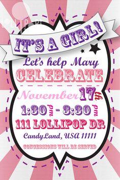 Circus Baby Shower Invitation - Girl. $5.00, via Etsy.