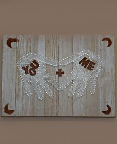 Hand/heart string art inspiration. You + Me valentine's day gift idea using string art. This easy to create string art pattern would also make a great wedding gift.