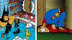 Batman Vs Superman Poster, Funny Superman, Superman Wallpaper, Marvel Wallpaper, Marvel E Dc, Funny Comic Strips, Dc Comics Superheroes, Funny Comics, Memes