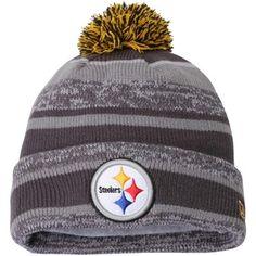 Mens Pittsburgh Steelers New Era Gray Team Sport Knit Cuffed Hat