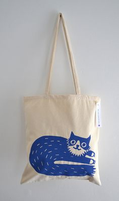 Cat Tote Bag, Hand Screen Printed Percy Cat Design in Royal Blue on Etsy, $23.70