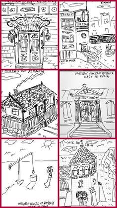 Sketches of representative Romanian historic built landscape sights by Valentin Mandache
