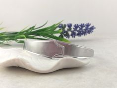 SPOON BRACELET, Sterling Silver. Open Cuff Solid Silver Bangle. Art Deco Silverware Jewelry, Made from two Vintage Spoons. Solid Silver Bangles, Sterling Silver Bracelets, Spoon Bracelet, Cuff Bracelets, Silverware Jewelry, S Monogram, 1920s Art Deco, Organza Bags, Spoons