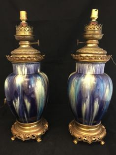 Eugene-BAUDIN-Wolf-Paire-de-Lampe-a-Petrole-Faience-Bronze-Dore-Art-Nouveau-1900