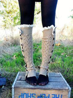 Taupe Button Leg Warmer Boot Socks Leg Warmers by ThreeBirdNest
