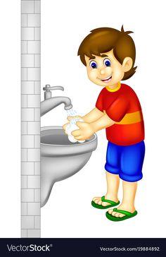 Handsoome boy cartoon stading with hand wash Vector Image Art Drawings For Kids, Drawing For Kids, Cute Cartoon Wallpapers, Cartoon Pics, Koala Craft, Flashcards For Kids, Islamic Cartoon, School Painting, School Clipart