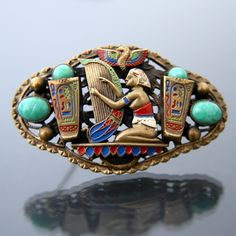 Max NEIGER. Art Deco Czech Glass Brooch. Egyptian Revival