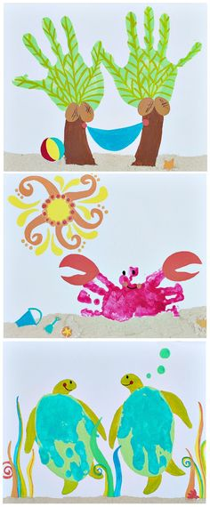 Handprint art. Okay...totally making the palm tree one for mom!!!,                                                                                                                                                                                 More