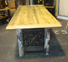 Barn Door Table with ornamental