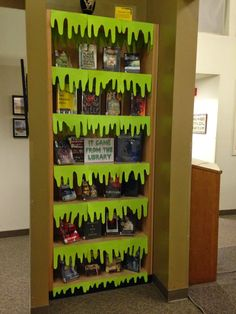 Slime library display, Halloween, Halloween bulletin board, book display…