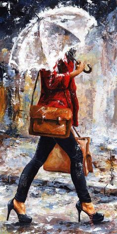Emerico Toth Rainy day - Woman of New York 17 print for sale. Shop for Emerico Toth Rainy day - Woman of New York 17 painting and frame at discount price, ships in 24 hours. Rain Art, Umbrella Art, Canvas Art Prints, Painting Canvas, Big Canvas Art, New York Painting, Rain Painting, Figure Painting, Framed Prints