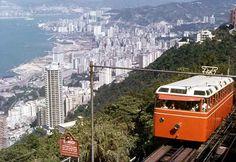 Peak Tram, circa1953, old Hong Kong.