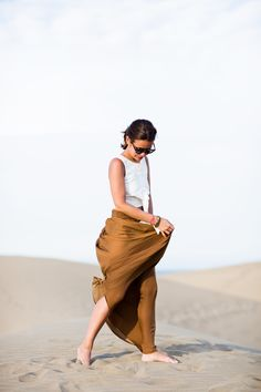 BAREFOOT IN THE SAND See More on www.fashionindie.com by @Collage Vintage wearing @asos.com top, @Zara Lamey skirt. #BLOGGER #look #ootd #longskirt #outfit #fashion #blogger