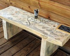 Small Wedding bench Guest Book 24 by wooddenshop on Etsy