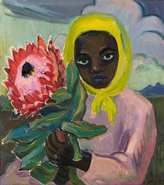 Young girl with head scarf holding a protea by Maggie (Maria Magdalena) Laubser