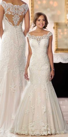 Wedding Dresses Lace Straps Gorgeous Tulle Off-the-shoulder Neckline Natural Waistline Mermaid Wedding Dress With Lace Appliques & Beadings Princess Wedding Dresses, Best Wedding Dresses, Bridal Dresses, Lace Wedding, Elegant Wedding, Mermaid Wedding Gowns, Off Shoulder Wedding Dress Lace, Modest Wedding, Wedding White