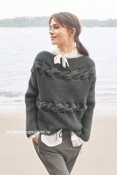 Knitting Patterns Pullover Title model Classici 13 with instructions for free Crochet Pullover Pattern, Knit Crochet, Cardigan Pattern, Cool Sweaters, Sweaters For Women, Big Wool, Diy Mode, Big Knits, Sweater Fashion