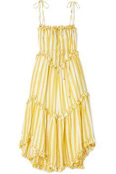 Zimmermann Lumino Asymmetric Ruffled Striped Linen Midi Dress In Yellow Stripe Yellow Sundress, Yellow Midi Dress, Striped Midi Dress, Ruffle Dress, Linen Dresses, Day Dresses, Summer Dresses, Sleeve Dresses, Floral Dresses