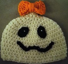 $14.00   FREE US Shipping  Size: 0-3 months, 3-6 months,or 6-12 months  Colors: white, orange and black (or choose your own)  Hats are crocheted personally by me using 100% worsted weight (acrylic) yarn.  * Designer credit: made using a pattern designed by Tupelo Honey's *  https://www.etsy.com/listing/159202892/made-to-order-crochet-halloween-ghost?