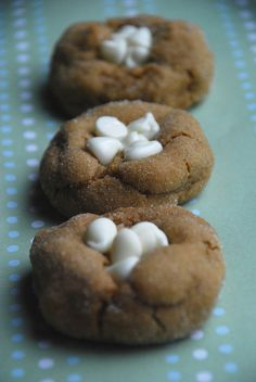 White Chocolate topped Gingerbread cookies- I wasn't crazy about the white chips.  I left them off after the first pan.  Super soft, yummy cookie though.
