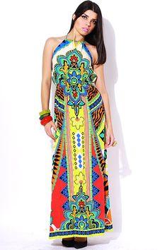 #clubwear21.com #dress #fashion Ethnic printed halter backless summer evening maxi dress-$59.00