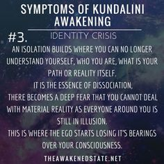 Symptoms of Kundalini Awakening Feeling lost/Confused/ Having an Identity CrisisThis is not only just a feeling of loneliness, it is a feeling of confusion about what is truth and what is real. It becomes not only hard to relate to others but. Kundalini Yoga, Yoga Meditation, Meditation Quotes, Feeling Of Loneliness, Symptoms Of Loneliness, Dissociation, Spiritual Inspiration, Spiritual Growth, Spiritual Wisdom