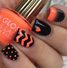 Orange and black combinations for your winter nail art. Combine cute designs like polka dots, zigzags, hearts and gradient techniques to make your nail art stand out. #cutenaildesigns