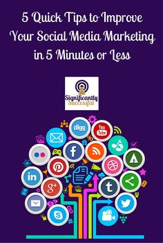 5 tips to improve your social media marketing in 5 minute or less!  If you are a small business, getting the most traction possible from social media marketing makes a huge difference. Here we give you 5 easy ways to increase your results... all in 5 minutes or less!!