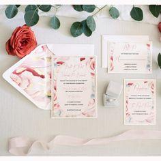 Floral wedding Invitation/Blush Wedding by BoxedWedding on Etsy