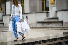 Paris Haute Couture Spring 2015 Street Style - feather and denim, oh yeah