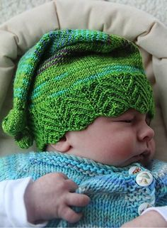 This adorable Elfbaby hat will grow with your little one. Knit this quick project just in time for the big day!