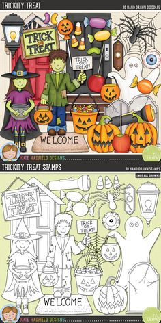 Halloween Trick or Treating clip art for teachers! Contains coloured clipart and black and white outlines at 300 dpi for highest quality printing for your resources and projects! Hand-drawn clip art by Kate Hadfield Designs at Teachers Pay Teachers. Halloween Doodle, Halloween Clipart, Digital Stamps, Digital Scrapbooking, Cute Journals, Doodle Art, Cute Wallpapers, Cute Art, Art For Kids