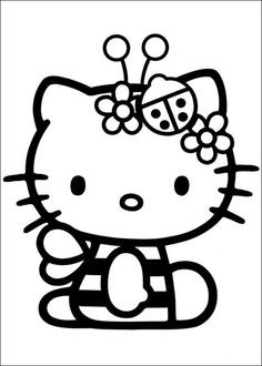 Printable Hello Kitty Coloring Pages For Kids. When we first heard Hello Kitty, the first one that occurred in our minds was a cute cat character that was very Hello Kitty Colouring Pages, Easter Coloring Pages, Cartoon Coloring Pages, Coloring Pages For Kids, Coloring Sheets, Coloring Books, Free Coloring, Hello Kitty Desenho, Images Hello Kitty