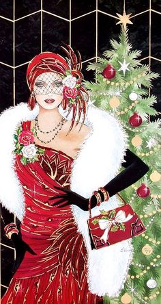 Art Deco Woman Red Dress Xmas Tree