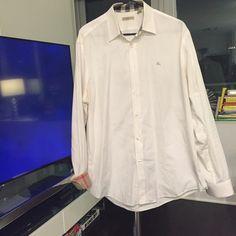 Men's Burberry Brit Button Down White Burberry trim fit button down Burberry Tops Button Down Shirts