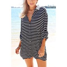 Yoins Striped Shirt with Adjustable Sleeves (34 BAM) ❤ liked on Polyvore featuring tops, black, shirt top, stripe shirt, striped shirt, button front top and button front shirt