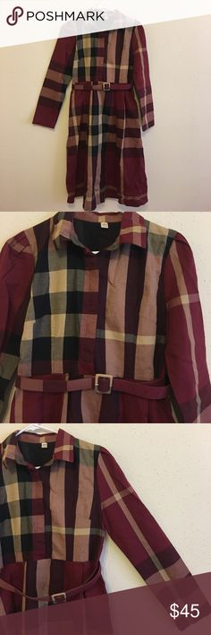 Midi plaid dress Give you that Burberry vibes without spending a fortune on it. This dress is from Korea. Very well made and comfy. Tag says size L which I think is true. Ask me questions if you like. Dresses Midi