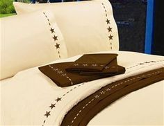 350 TC 100% Cotton Cream Embroidered Western Star Sheets #DelectablyYours Western Bed and Bath Decor