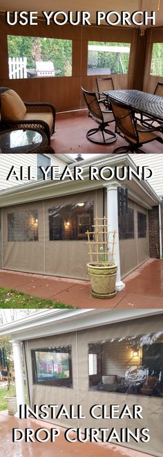 Ideas Backyard Porch Patio Curtains For 2019 Porch Curtains, Patio Blinds, Diy Blinds, Outdoor Blinds, Curtains With Blinds, Sunroom Windows, Privacy Blinds, Blinds Ideas, Bamboo Blinds