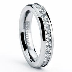 3MM High Polish Princess Cut Ladies Eternity Titanium Ring Wedding Band with CZ