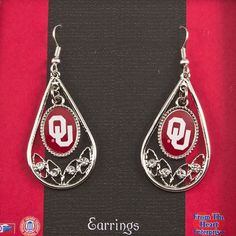 J and D Jewelry and More - Oklahoma Sooners Teardrop Silver Tone Earrings, $11.99