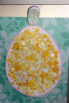 egg collage (fill with dried beans, buttons, glittter) - abstract or  practice patterns