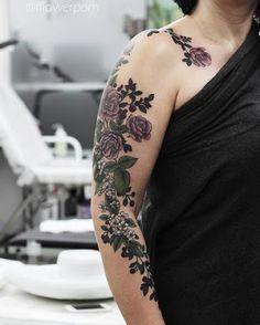 Flowers Sleeve Tattoo by Olga Nekrasova