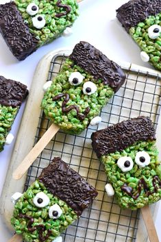 These Frankenstein rice krispie treats are made gluten-free with brown rice krispies. Can't wait to see Frank's face when he sees them!