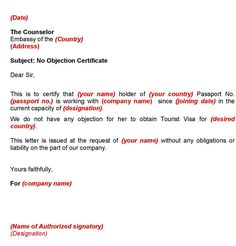 Objection Letter Format For Employer Certificate From Communications  No Objection Certificate From Employer Sample