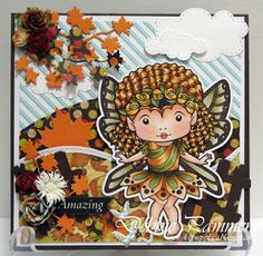 From our Design Team! Card by Debbie Pamment featuring Rose Faerie Marci and these Dies - Autumn leaves, Broken leaves,   Double stitched hills border,  Stitched clouds :-) Shop for our product here - shop.lalalandcrafts.com  Coloring details and more Design Team inspiration here - http://lalalandcrafts.blogspot.ie/2015/09/inspirational-monday.html